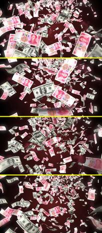 人民币美元钱币掉落天上掉钱视频