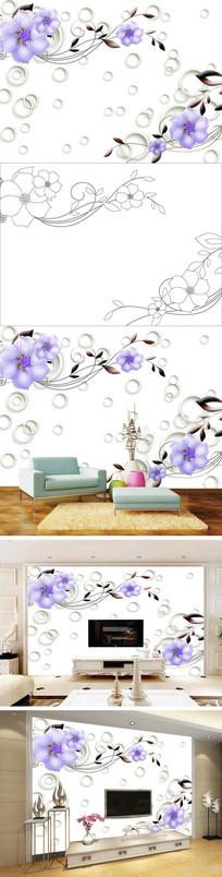 3D立体彩雕花卉花朵电视背景墙带路径