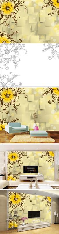 3D立体浮雕花卉花朵电视背景墙带路径