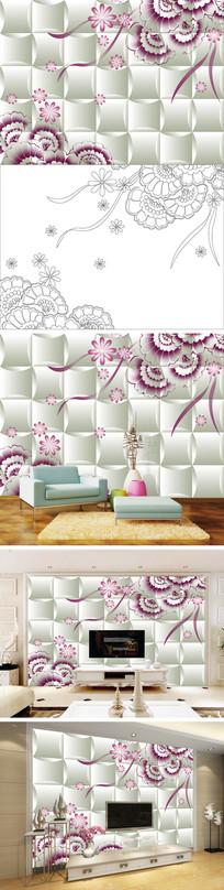 3D立体花卉花朵电视背景墙带路径