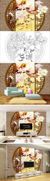 3D立体门家和富贵玉兰花鲤鱼电视背景墙带路径 PSD