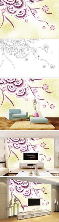 彩雕花卉花朵电视背景墙带路径