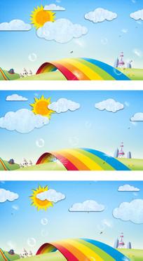 彩虹的约定国际六一儿童节卡通视频背景
