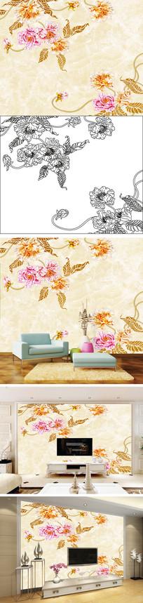 浮雕花卉花朵大理石电视背景墙带路径