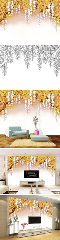 浮雕花卉花朵电视背景墙带路径