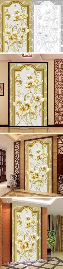 浮雕花卉花朵玄关背景墙带路径
