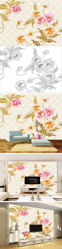 浮雕手绘花卉花朵电视背景墙带路径