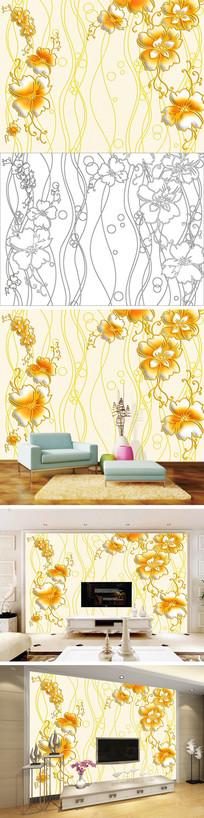 浮雕线条花卉花朵电视背景墙带路径