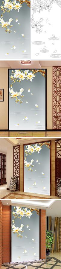 浮雕玉兰花花瓣玄关背景墙带路径 PSD