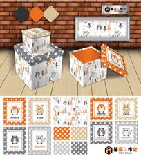 可爱卡通动物工艺盒套图矢量素材