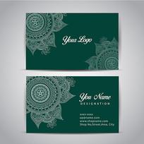 绿色经典花纹纹理名片