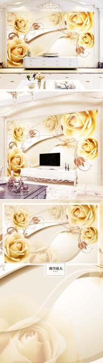 欧美金色玫瑰花大气欧式电视背景墙