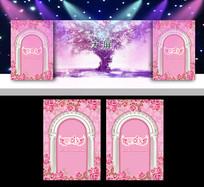 欧式粉色系婚礼背景板 PSD