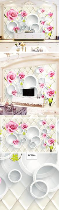 清新时尚大气玫瑰花欧式电视背景墙
