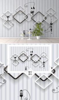 时尚大气立体几何图形电视背景墙图片