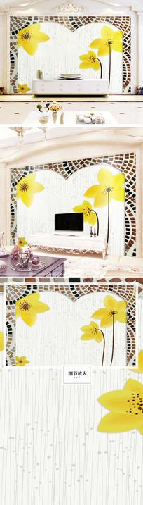 时尚简约花卉花朵电视欧式背景墙