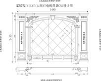 别墅大理石电视背景客厅背景CAD设计图欧式雕花玉石罗马柱