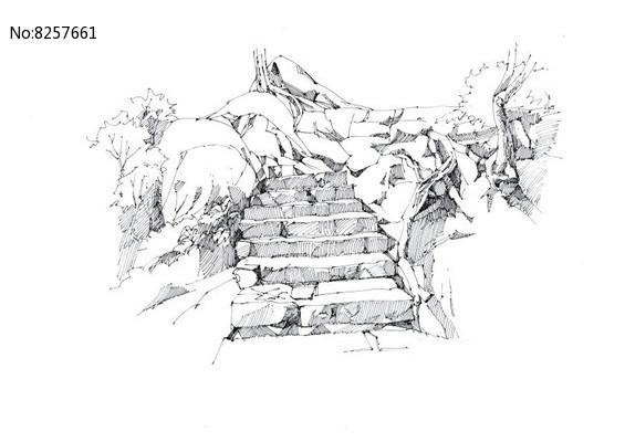 风景区台阶手绘图图片