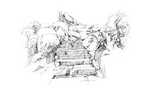 风景区台阶手绘图
