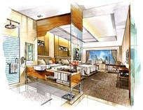 高档宾馆的手绘图