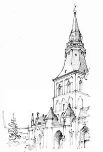 高耸建筑手绘图