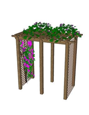 简单廊架上的藤蔓植物SU