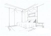 简单卧室手绘线稿