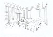 简欧客厅手绘线稿