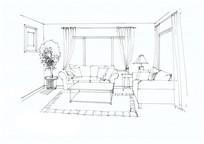 简约客厅手绘线稿