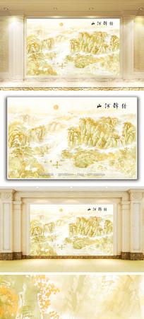 山河锦绣山水风景大理石纹背景墙