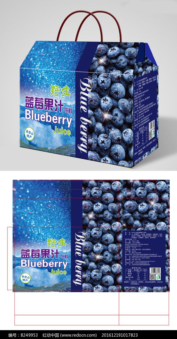 时尚靓丽蓝色蓝莓果汁包装礼盒设计图片
