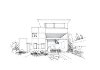 现代别墅手绘线稿 JPG