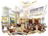 现代餐厅手绘效果图