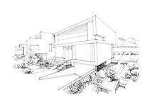 现代建筑手绘