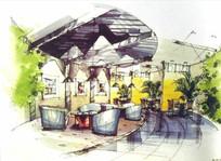 现代设计室内绿色餐厅