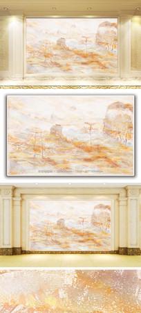 乡村山水风景大理石纹背景墙
