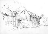 乡间建筑手绘线稿