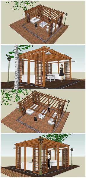 新中式木制廊架花架花廊su模型素材图片