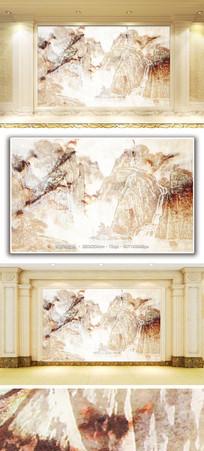 中国风古典山水风景大理石纹背景墙