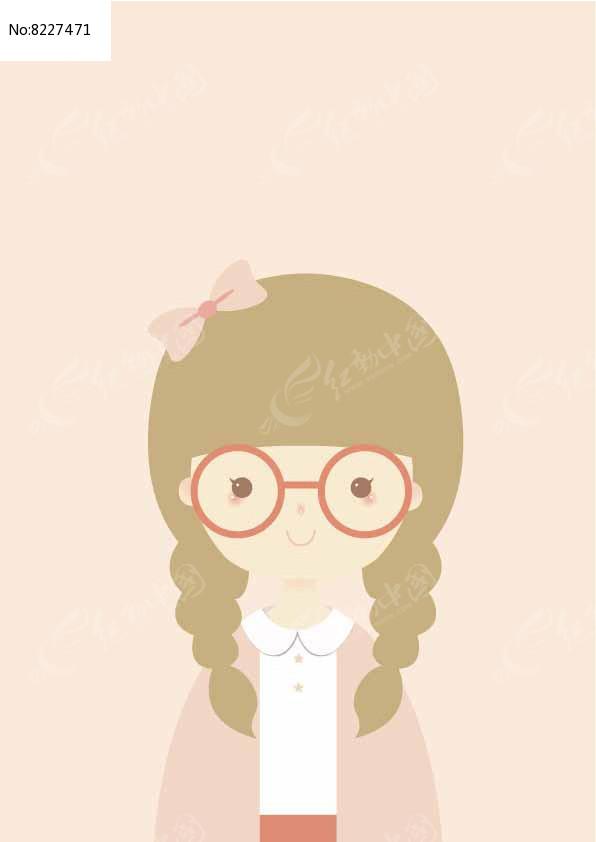 戴眼镜卡通女孩矢量插画