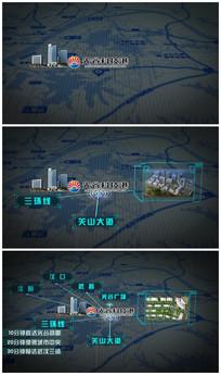 地图地理位置展示AE模版