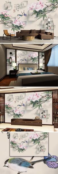 花开富贵3D新中式电视背景墙