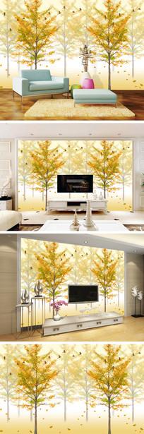 黄色银杏树林电视背景墙