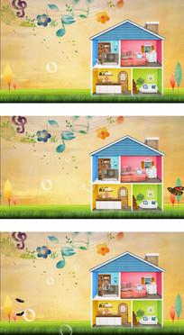 卡通小屋不同布局家庭背景视频
