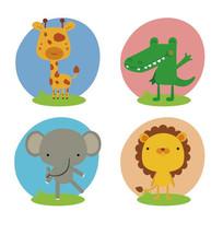 可爱的卡通小动物矢量插画