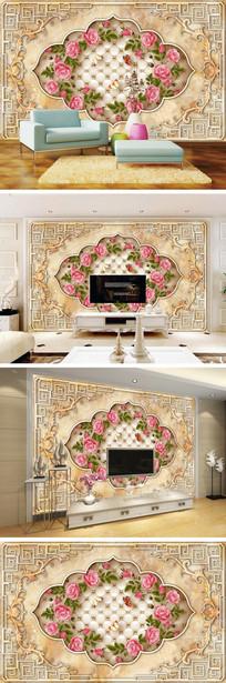 欧式大理石纹花边玫瑰软包电视背景墙