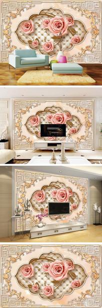 欧式玉石花边玫瑰软包电视背景墙