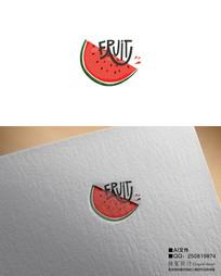 手绘西瓜鲜切水果LOGO