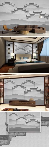 水墨中国风山水拱门新中式电视背景墙