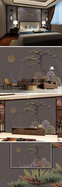 新中式水墨松山风景砂岩电视背景墙
